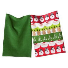 Whimsy 2 Piece Santa and Friends Dishtowel Set