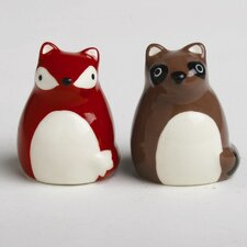 Foxy Fall Fox and Raccoon Salt and Pepper Shaker