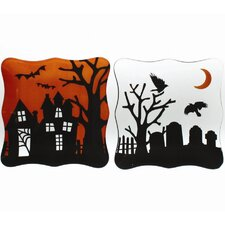 "Spooky Party 8"" Glass Appetizer Plate (Set of 2)"