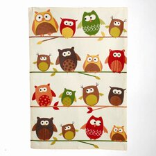 Owl Perched Owls Printed Dishtowel