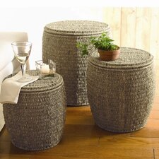 Baskets Seagrass Storage Ottoman 3 Piece Set