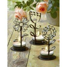 3 Piece Flower Tealight Holder Set