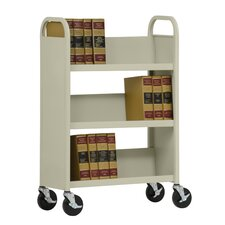 "31"" W Single Sided Sloped-Shelf Mobile Book Truck"