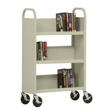 "27"" W Single Sided Sloped-Shelf Mobile Book Truck in Putty"