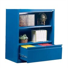 "42"" H Two Shelf Bookcase with File Drawer"