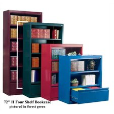 "72"" H Four Shelf Bookcase with File Drawer"
