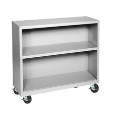 "36"" H Two Shelf Mobile Bookcase"