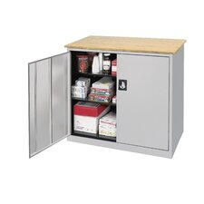 <strong>Sandusky Cabinets</strong> Elite Series Large Capacity Counter Height Cabinet with Woodgrain Top