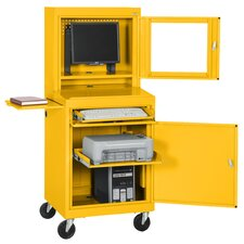 Mobile Computer Security Workstation with Slide-Out Shelf