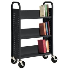 "27"" W Single Sided Sloped-Shelf Mobile Book Truck"