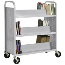 Double Sided Sloped Shelf Mobile Booktruck