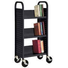 "17"" W Single Sided Sloped-Shelf Mobile Book Truck"