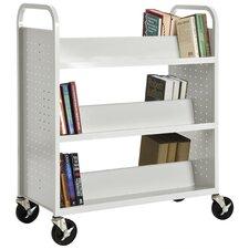 Double Sided Sloped Shelf Mobile Booktruck