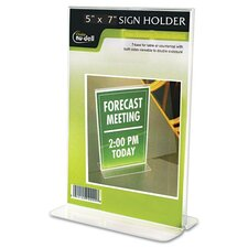 "Clear Plastic Sign Holder, Stand-Up, 5"" Wide"