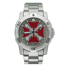 Chrome Biker Watch with Iron Cross and Bones Emboss
