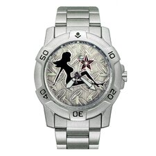 Chrome Biker Watch with Mudflap Chick Emboss