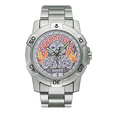 Chrome Biker Watch with Fear No Evil Emboss