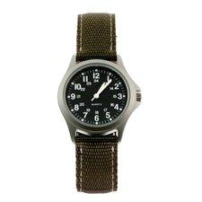 Rugged Military Field Watch with Khaki Nylon Strap