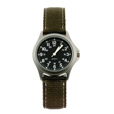 Rugged Military Field Watch with Khaki Nylon Strap
