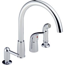 Single Handle Widespread Kitchen Faucet with Soap Dispenser and Side Spray