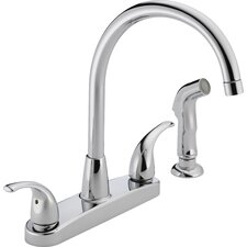 "3.75"" Two Handle Centerset Kitchen Faucet with Sink Spray"