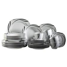 Oslo 30 Piece Porcelain Dinnerware Set in Uni White