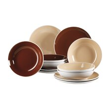 Two Tone 12 Piece Ceramic Dinnerware Set