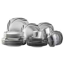 Oslo 30 Piece Porcelain Dinnerware Set in Uni White
