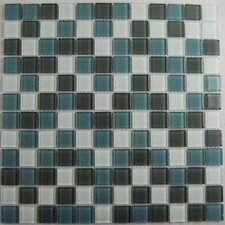"Cloudz Altostratus 1"" x 1"" Glass Mosaic in Gray Multi"