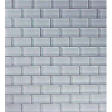 "Cloudz Cumulonimbus 2"" x 1"" Glass Mosaic in Gray Multi"