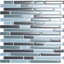 Color Blends Gris Random Sized Glossy Glass Mosaic in Gray
