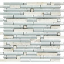 "<strong>Epoch Architectural Surfaces</strong> Varietals Viognier 12"" x 12"" Random Mosaic Stone and Glass Blend in White"