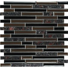 Spectrum Baltic Brown Random Sized Stone and Glass Blend Mosaic in Brown Multi