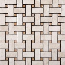 "Tumbled 12"" x 12"" Travertine Basketweave Mosaic in Beige"