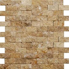 "Noce 12"" x 12"" Splitface Travertine Mosaic in Brown"
