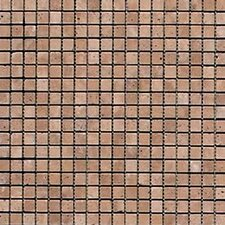 "Noce 12"" x 12"" Tumbled Travertine Mosaic in Brown"