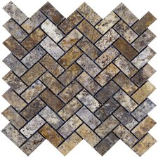 "Scabos 12"" x 12"" Tumbled Travertine Herringbone Mosaic in Multi"