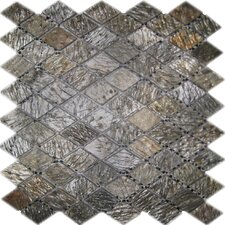 "12"" x 12"" Tumbled Slate Diamond Mosaic in Gold Green"