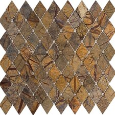 "12"" x 12"" Tumbled Marble Diamond Mosaic in Rain Forest Brown"