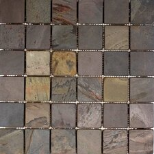 "12"" x 12"" Tumbled Slate Mosaic in Indian Rain"