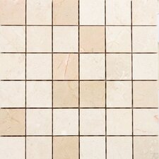 "<strong>Epoch Architectural Surfaces</strong> 12"" x 12"" Polished Marble Mosaic in Crema Marfil"