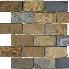"12"" x 12"" Polished / Tumbled Slate Mosaic in California Rustic"