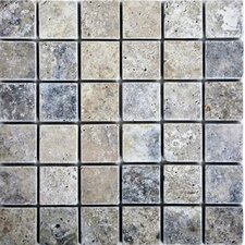 "12"" x 12"" Tumbled Travertine Mosaic in Silver"