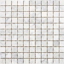 "12"" x 12"" Polished / Tumbled Marble Mosaic in White Carrara"