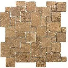 "Noce 12"" x 12"" Tumbled Travertine Mini Versailles Mosaic in Brown"