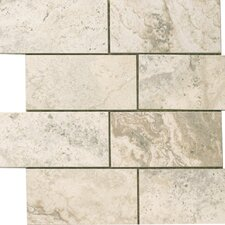 "<strong>Epoch Architectural Surfaces</strong> 12"" x 12"" Porcelain Subway Mosaic in Gray Travertine"