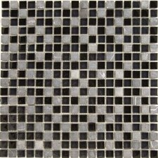 "<strong>Epoch Architectural Surfaces</strong> Dancez Fandango 12"" x 12"" Stone and Glass Blend Mosaic in Black"