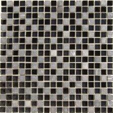 "Dancez Fandango 5/8"" x 5/8"" Stone and Glass Blend Mosaic in Black"