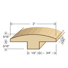 "0.31"" x 2"" Solid Hardwood Avodire T-Molding in Unfinished"