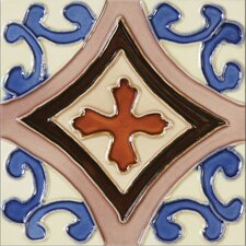 "Mission 6"" x 6"" Hand-Painted Ceramic Decorative Tile in Trebol"